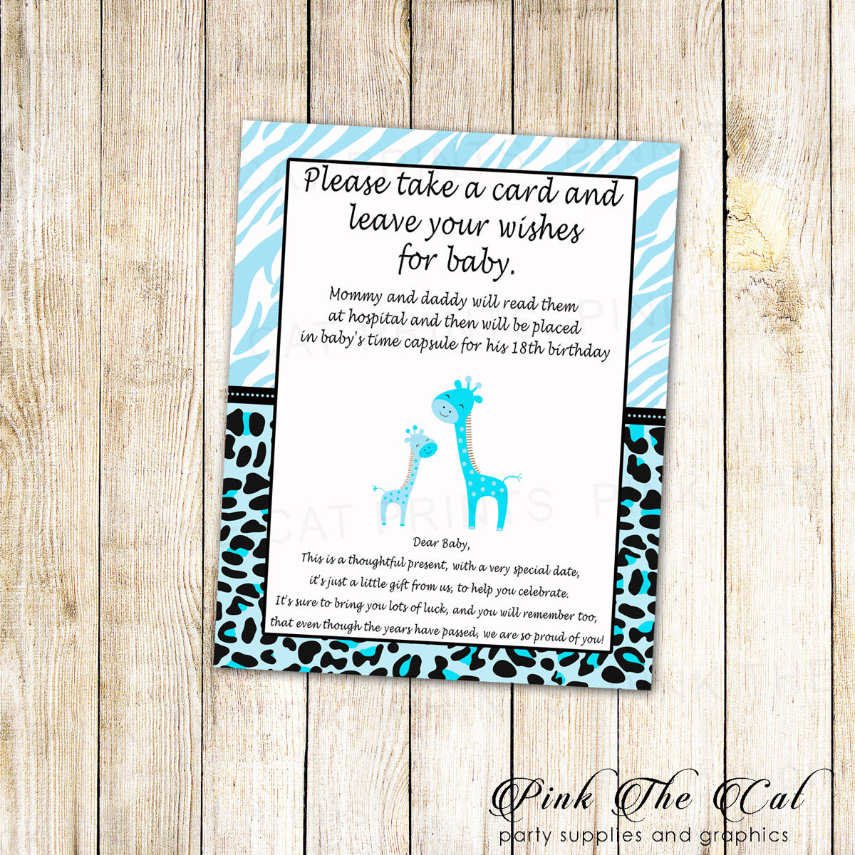 photograph relating to Baby Shower Sign in Sheet Printable called Period Capsule Giraffe Blue Child Shower